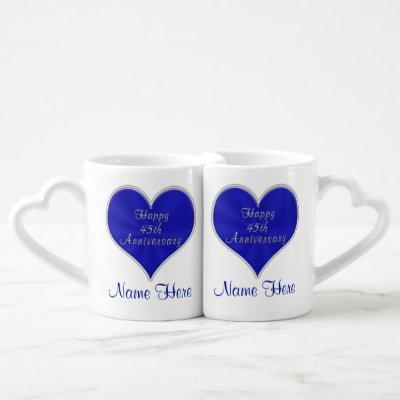 Personalized 45th Wedding Anniversary Gifts Coffee Mug Set