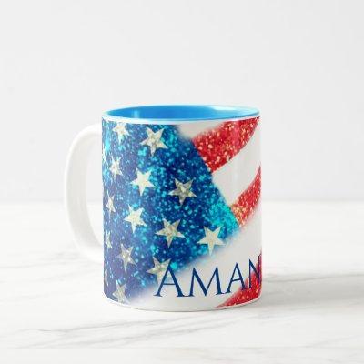 Personalized 4th of July American Flag Two-Tone Coffee Mug