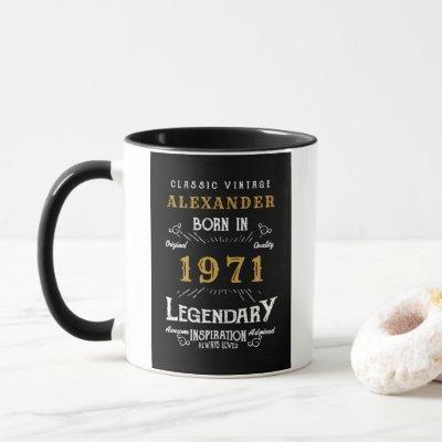 Personalized 50th Birthday Born 1971 Vintage Black Mug