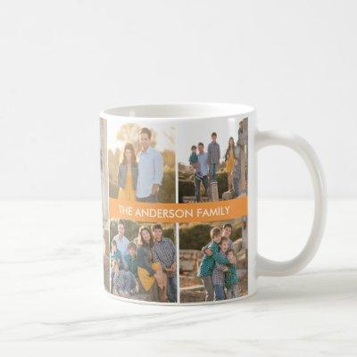 Personalized 5 Photo Family Collage Custom Name Coffee Mug