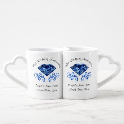 Personalized 65th Wedding Anniversary Gift Ideas Coffee Mug Set
