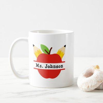 Personalized Apple Teacher Name Coffee Mug