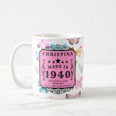 Personalized Birthday 1940 Add Your Name Butterfly Coffee Mug