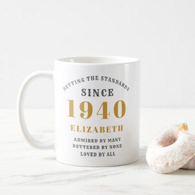 Personalized Birthday 1940 Add Your Name Elegant Coffee Mug