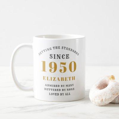 Personalized Birthday 1950 Add Your Name Elegant Coffee Mug