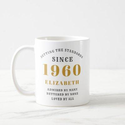 Personalized Birthday 1960 Elegant Add Your Name Coffee Mug