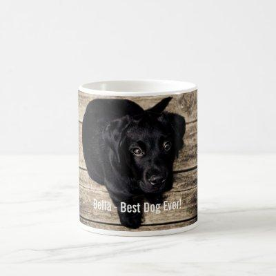 Personalized Black Lab Dog Photo and Dog Name Coffee Mug