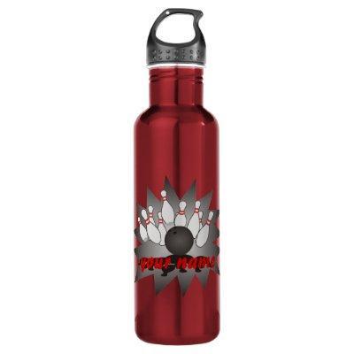 Personalized Bowling Ball Pins Strike Water Bottle