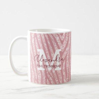 Personalized Chic Pink Glitter Zebra Monogram Coffee Mug