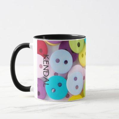 Personalized Colorful Buttons Mug