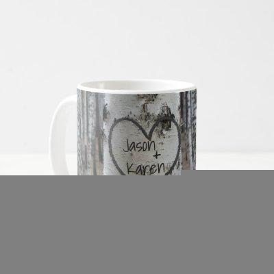 Personalized Country Rustic Carved Heart Coffee Mug
