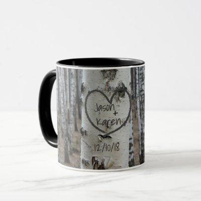 Personalized Country Rustic Carved Heart Mug