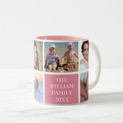 Personalized Custom Family 6 Photo Collage Pink Two-Tone Coffee Mug