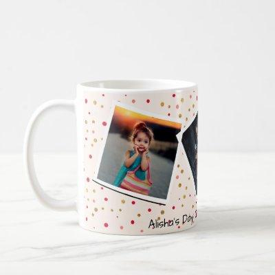 Personalized Custom Text with 3 Photo Collage Pink Coffee Mug