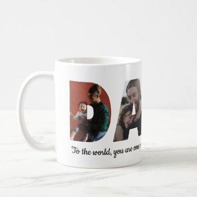 Personalized DADA 4 Photo Collage Dad Father's Day Coffee Mug