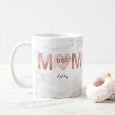 Personalized Dog Mom Rose Gold Paw Prints Heart Coffee Mug