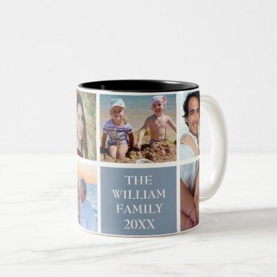 Personalized Family 6 Photo Collage Dusty Blue Two-Tone Coffee Mug