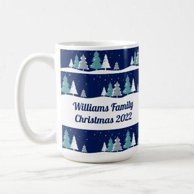 Personalized Family Christmas Trees Cute Holiday Coffee Mug