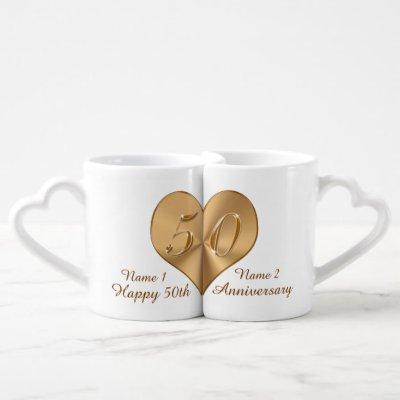 Personalized Fiftieth Anniversary Gift Lovers Mugs