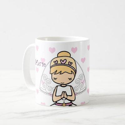 Personalized First Communion Day Girl Coffee Mug