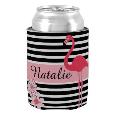 Personalized Flamingo Can Cooler