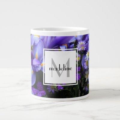 Personalized floral, purple iris, add name/initial large coffee mug