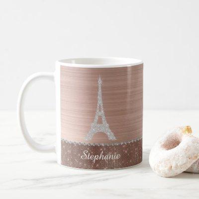 Personalized Girly Rose Gold Diamond Sparkle Paris Coffee Mug