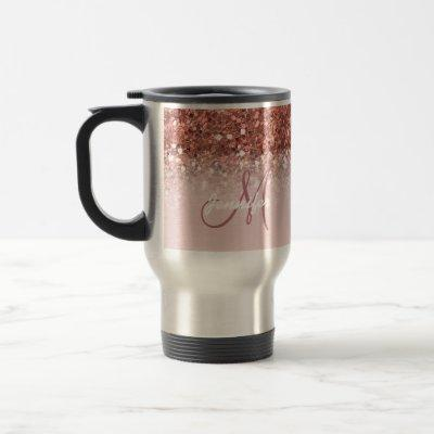 Personalized Girly Rose Gold Glitter Sparkles Name Travel Mug