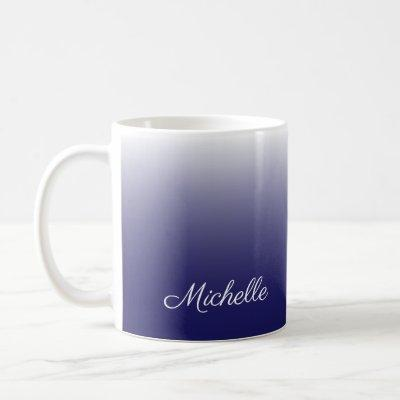 Personalized gradient ombre navy blue coffee mug