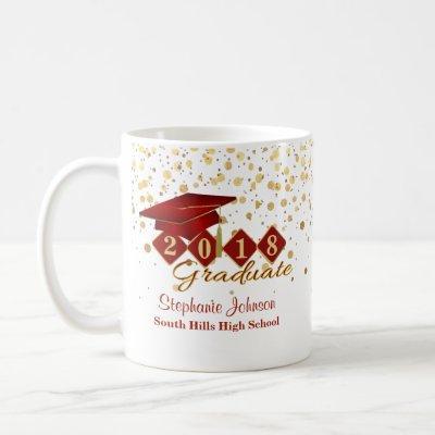 Personalized Graduation Red & Gold 20XX Coffee Mug