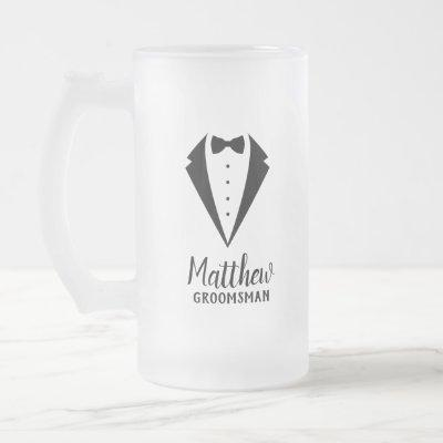 Personalized Groomsmen Frosted Glass Beer Mug