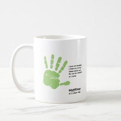 Personalized handprint mug from child with name