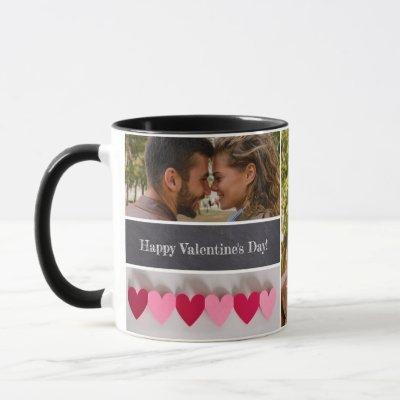 Personalized Happy Valentine's Day Photo Collage Mug