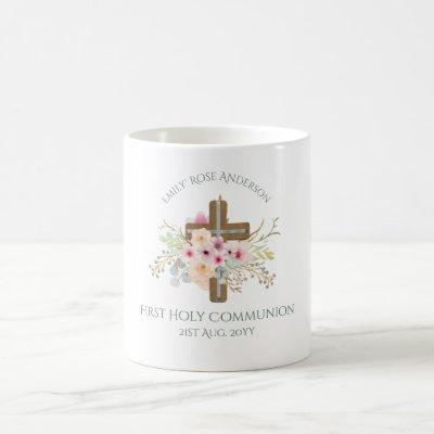 Personalized Holy Communion Floral Cross Coffee Mug