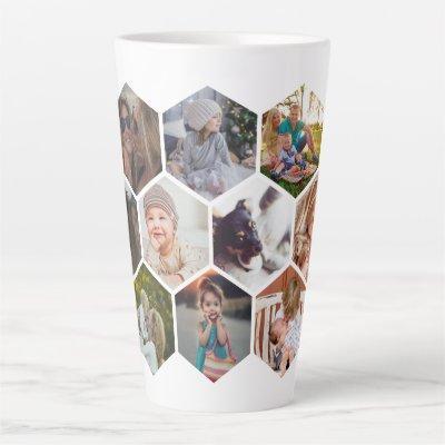 Personalized Honeycomb Family Photos Custom Latte Mug