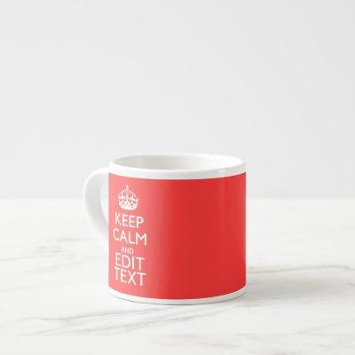 Personalized KEEP CALM and your text on Pink Coral Espresso Cup