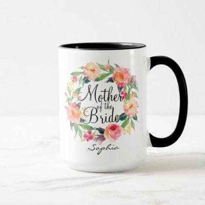 Personalized Mother of the Bride Floral Wreath2 Mug