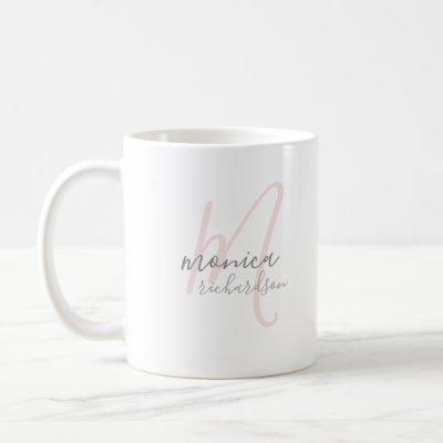personalized name . M monogram white Coffee Mug