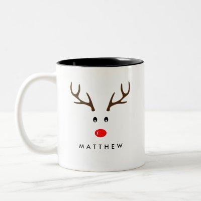 Personalized Name Reindeer Xmas Holiday Two-Tone Coffee Mug