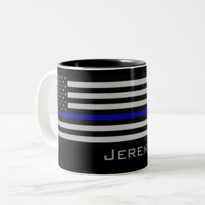 Personalized Name Thin Blue Line Flag Two-Tone Coffee Mug