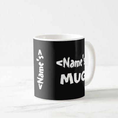 Personalized Name Trio Black White Coffee Mug