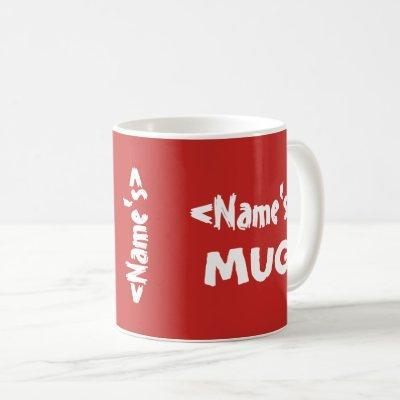 Personalized Name Trio Red White Mug