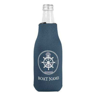 Personalized Nautical Boat Name Bottle Cooler