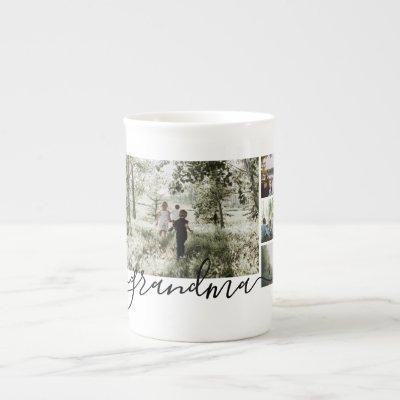 Personalized Photo and Text Photo Collage Family Bone China Mug