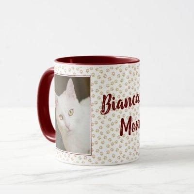 Personalized Photo Cat Mom Mug Brown w/ Paw Prints