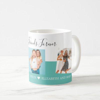 Personalized Photo Collage Best Friends Script BFF Coffee Mug