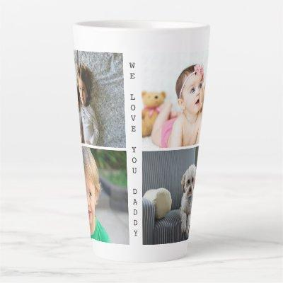 Personalized Photos and Text We Love You Daddy Latte Mug