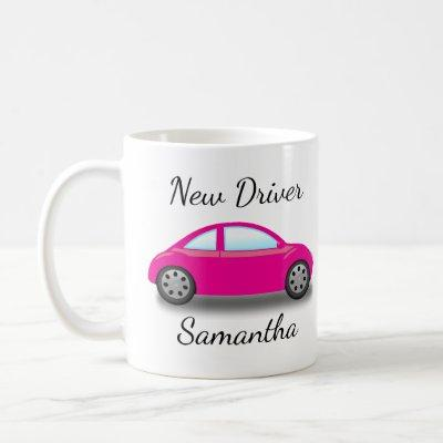 Personalized Pink Car New Driver's License Coffee Mug