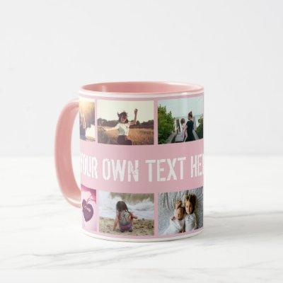 Personalized pink photo collage and text mug