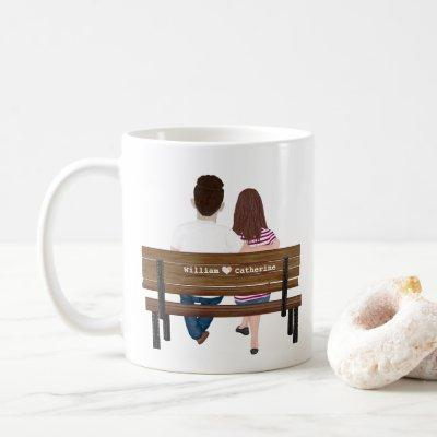 Personalized Portrait Couple You're My Person Cute Coffee Mug